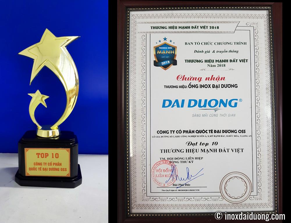 Cúp và chứng nhận Top thương hiệu mạnh Đất Việt 2018
