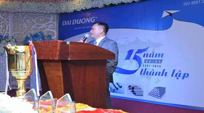 Ông Mai Quang Huy –Phó TGĐ quản trị sản xuất đại diện ban lãnh đạo lên phát biểu và khai mạc chương trình.