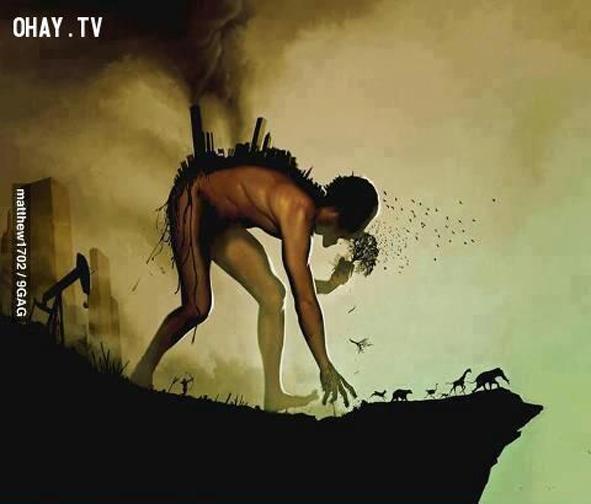 10. Ô nhiễm môi trường đã và đang đẩy con người và các loài động vật đến bờ vực tuyệt chủng.
