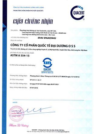 Chứng nhận tiêu chuẩn ASTM A 554-15