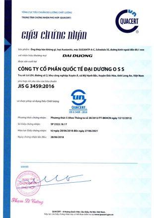 Chứng nhận tiêu chuẩn JIS G 3459:2016