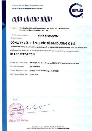 Chứng nhận tiêu chuẩn BS EN 10217-7:2014