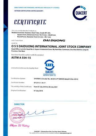 Cartificate ASTM A 554-15
