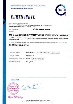 Cartificate BS EN 10217-7:2014