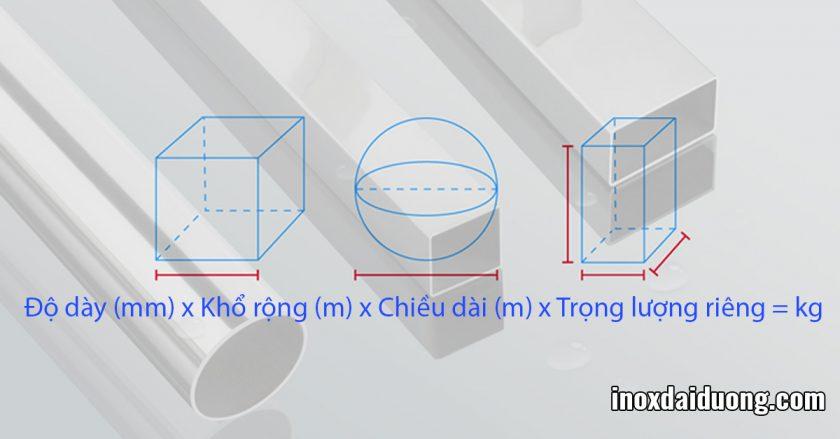 công thức tính toán trọng lượng của thép không gỉ khi kích thước thay đổi