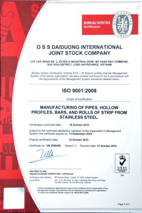 ISO 9001:2008 - MANUFACTURING OFF PIPES, HOLLOW PROFILES, BARS, AND ROLLS OF STRIP FROM STAINLESS STEEL