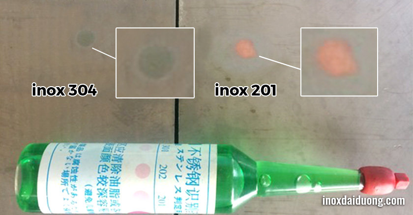 cách phân biệt inox 201 với inox 304 bằng hóa chất