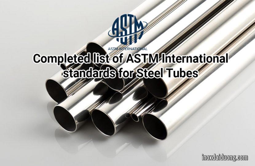 Completed list of ASTM International standards for Steel Tubes