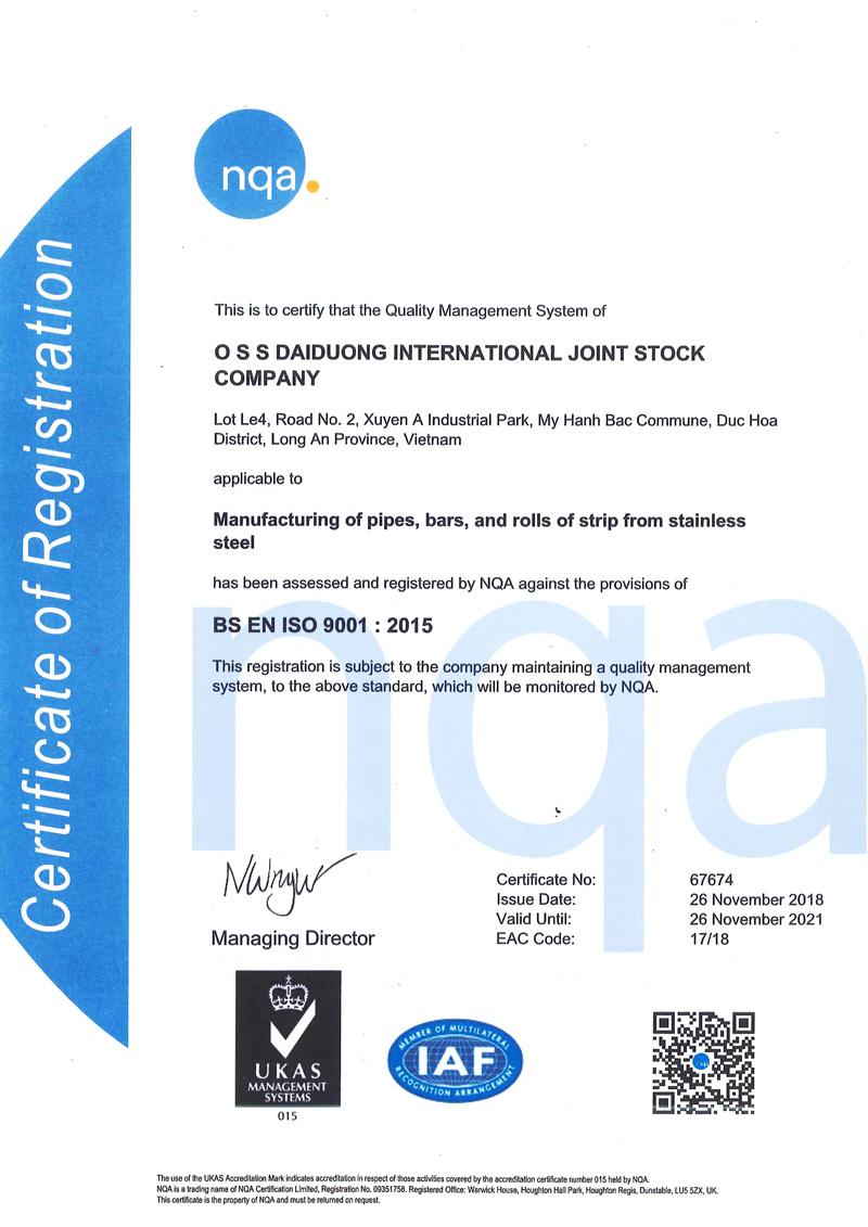 Chứng nhận ISO 9001:2015 - Inox Đại Dương