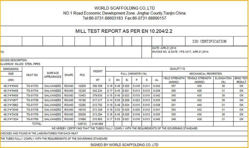 Bảng phân tích hóa học Mill test certificate