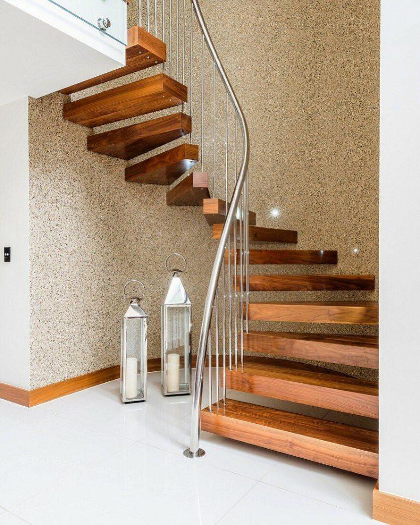 cầu thang Inox kết hợp với gỗ